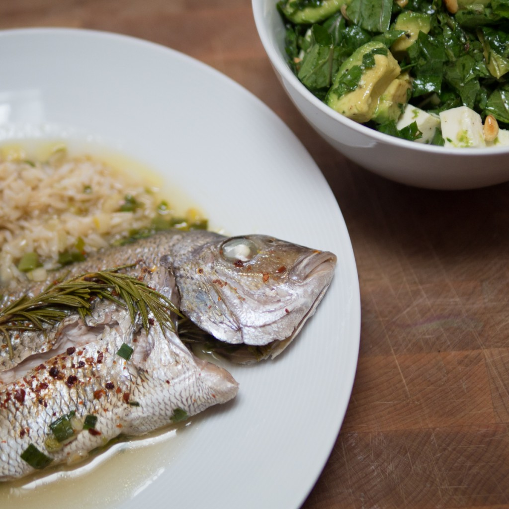 Porgy baked with sake herbs green garlic and chilli for Porgy fish recipe
