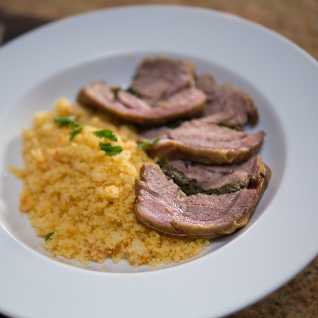 steamed lamb with cous cous