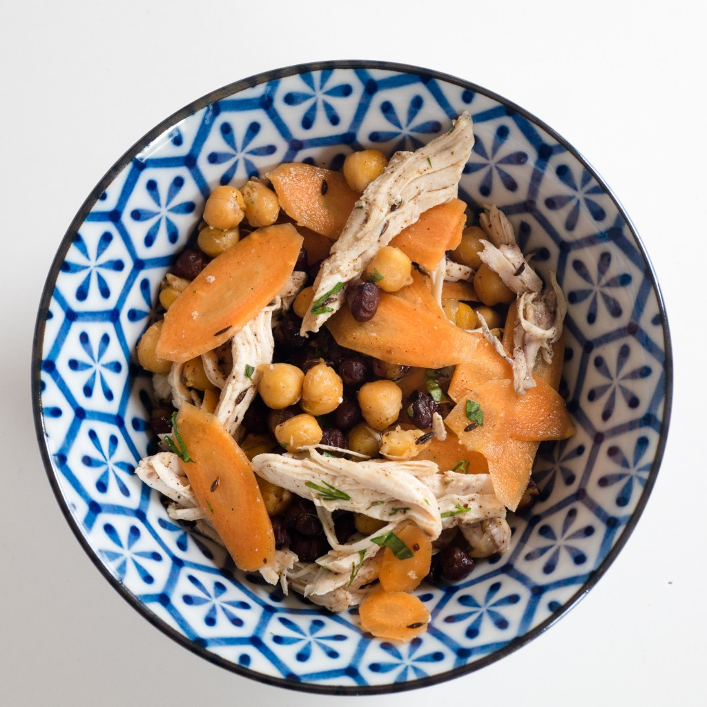 pickled carrots salad with chickpeas and chicken