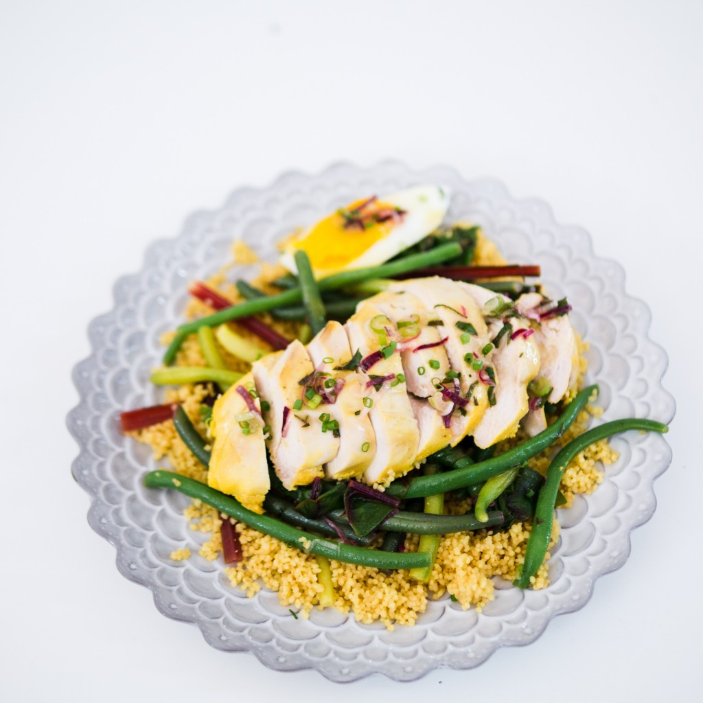 Lovage and Saffron Chicken with Green and Yellow Beans