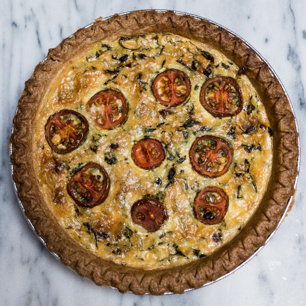Sweetcorn, Mushroom and Gorgonzola Quiche