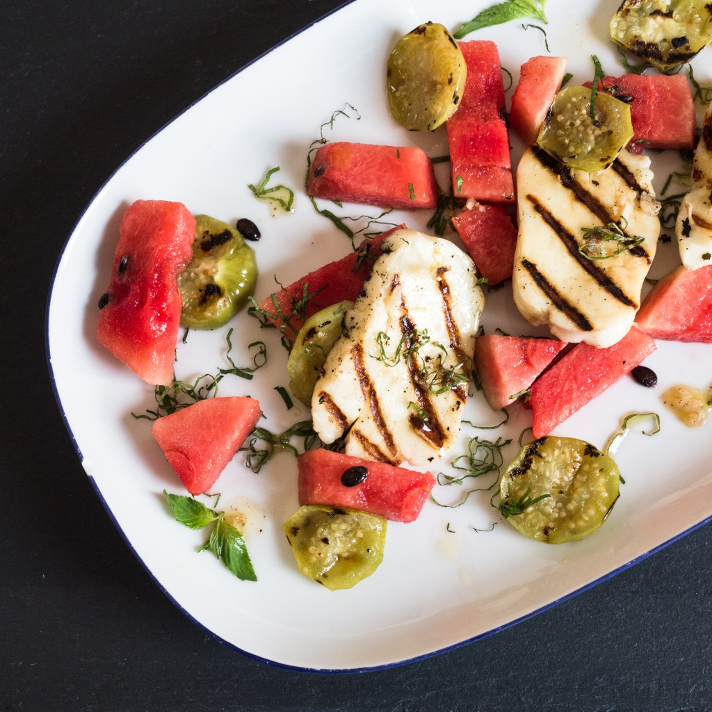watermelon haloumi and tomatillo salad