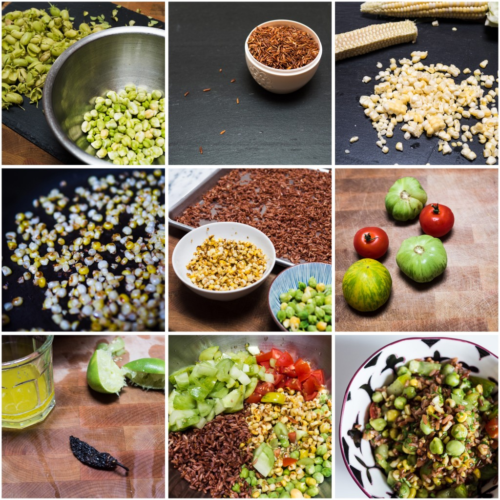 making Fresh Chickpeas with charred corn and red rice
