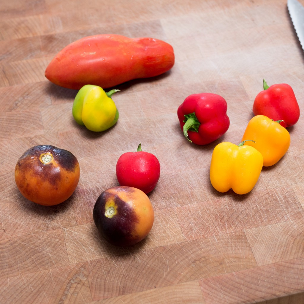 heirloom tomatoes and sweet peppers