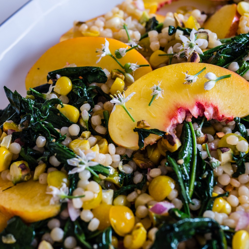 Nectarine, couscous and spigarelli broccoli salad