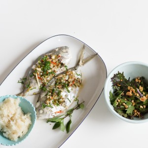 baked butterfish with sticky rice
