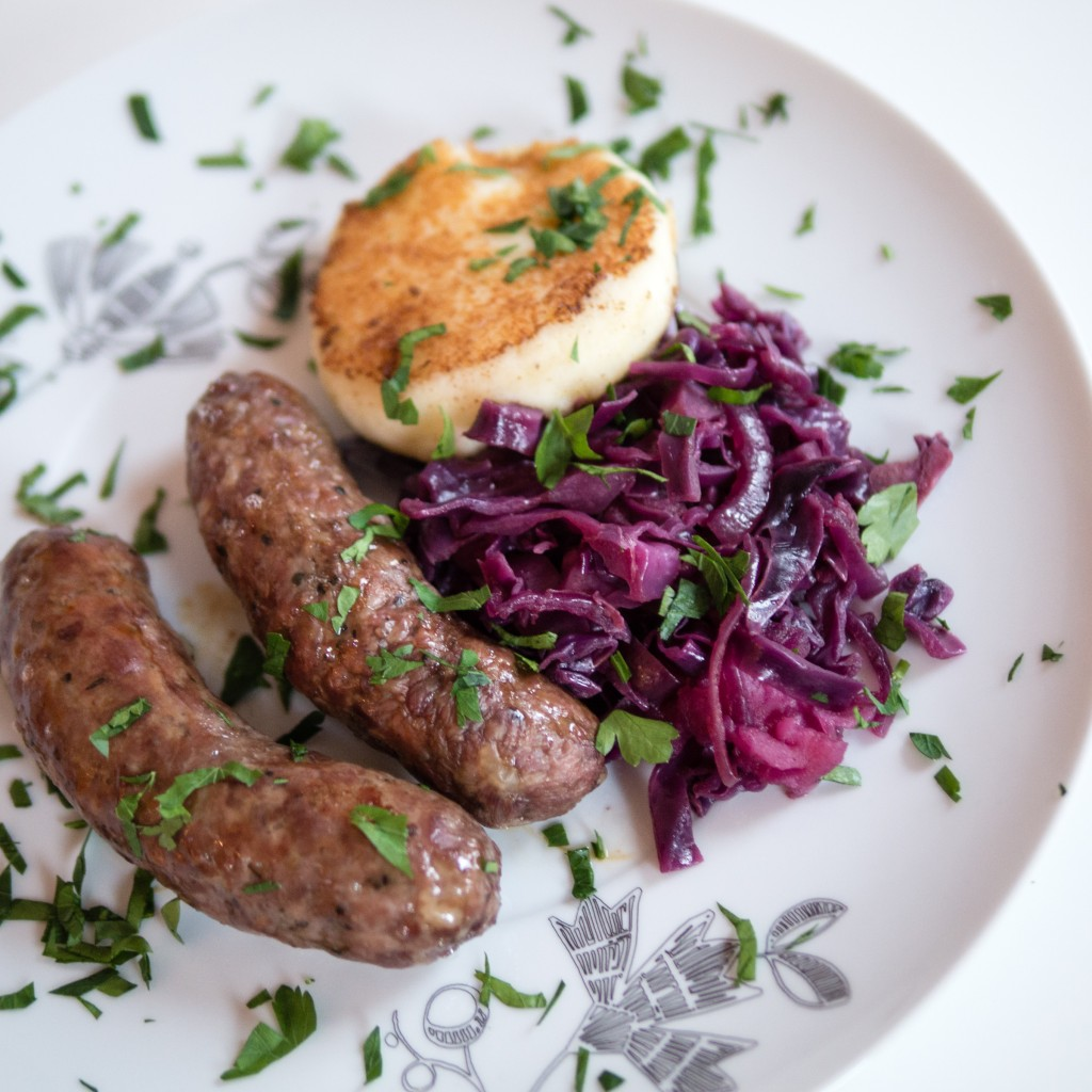 Mum's Venison Sausages with Spiced Red Cabbage and 'Mashcakes'