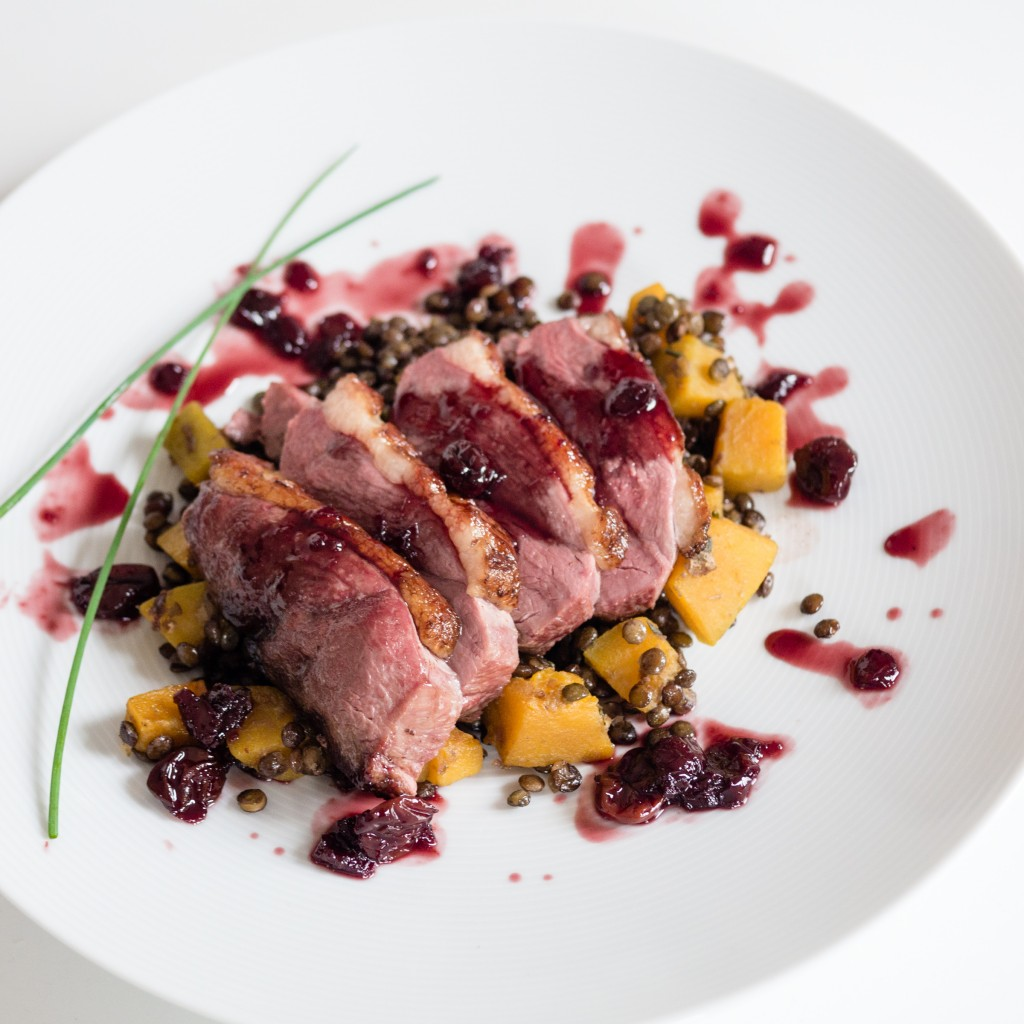 duck with morello cherries