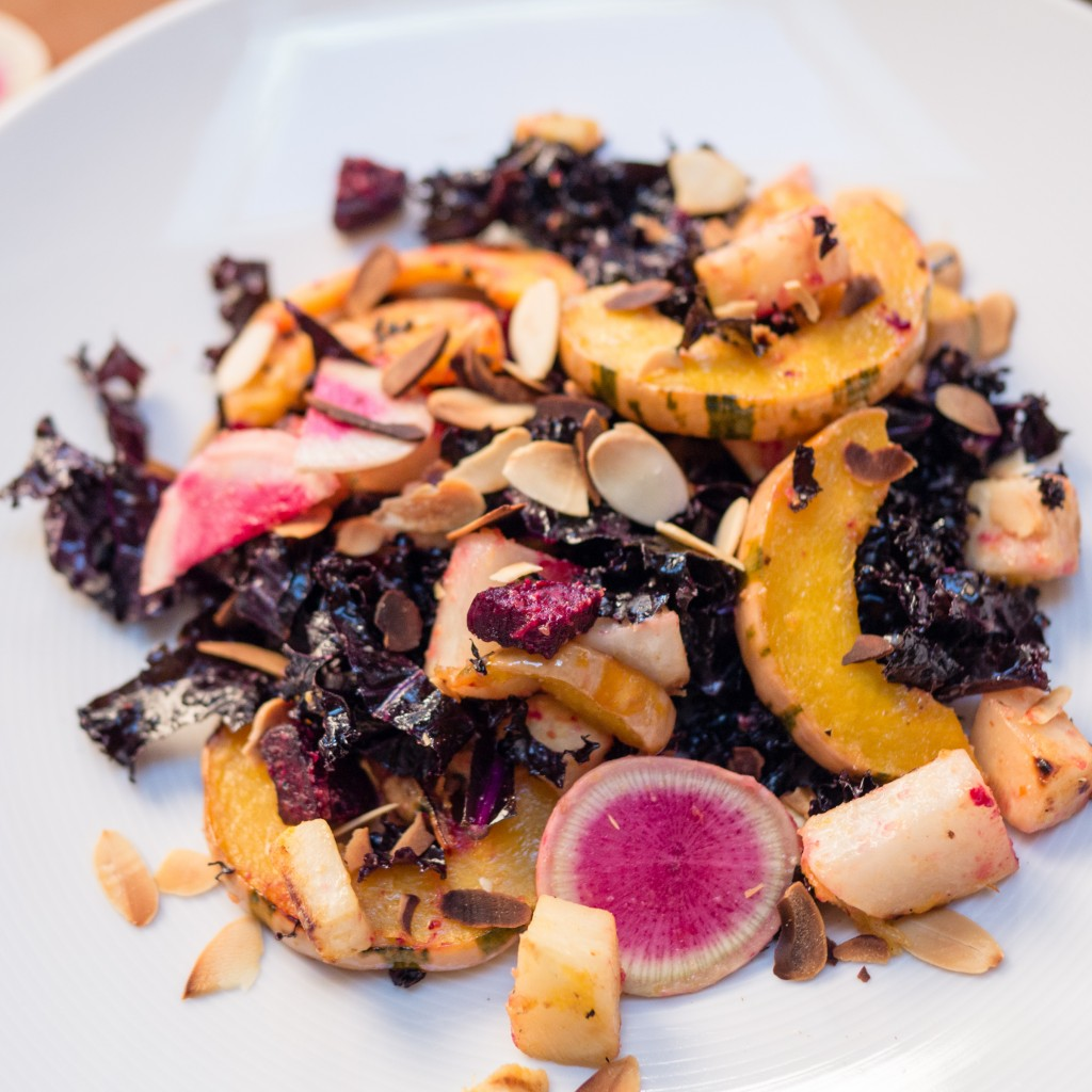 Roasted Squash and roots with Miso Harissa Dressing