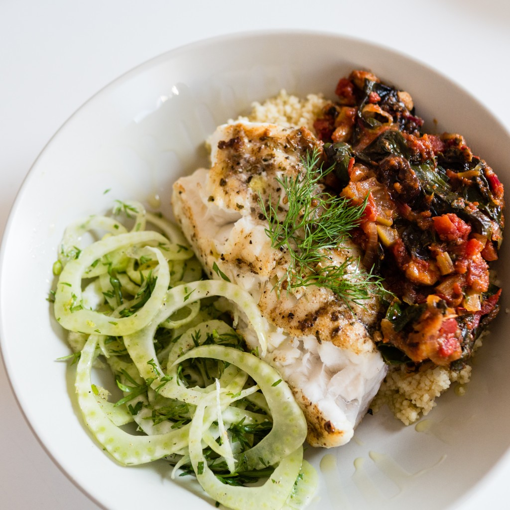 Grilled Monkfish and Chard Tagine with a Simple Fennel Salad