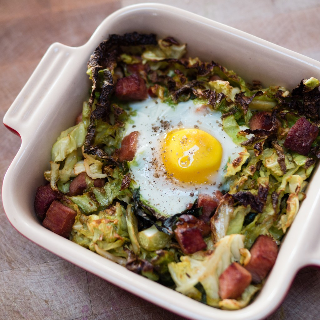 Smoked ham and Savoy Cabbage Hash with a Broiled Egg