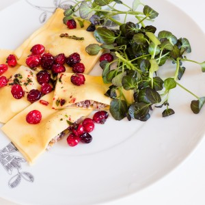Confit Duck Ravioli with Cranberries