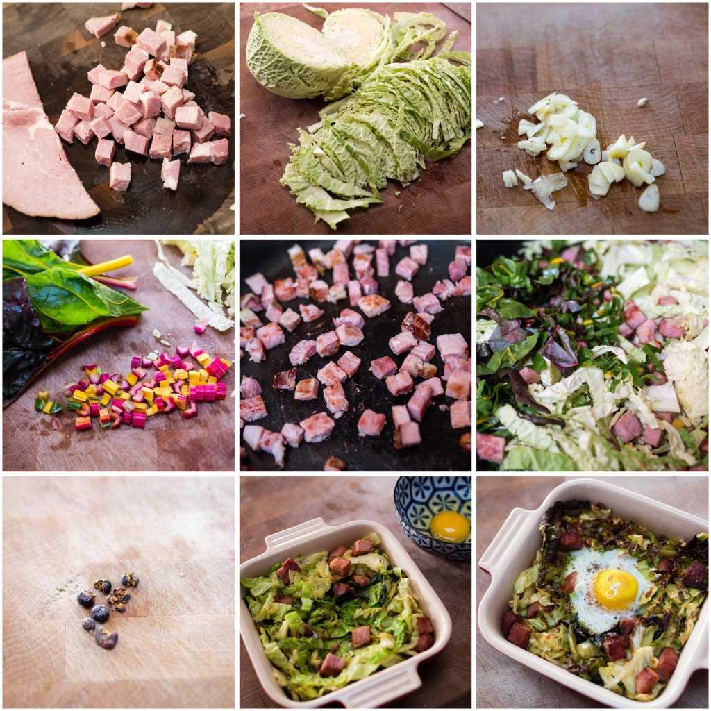 Making Smoked ham and Savoy Cabbage Hash with a Broiled Egg