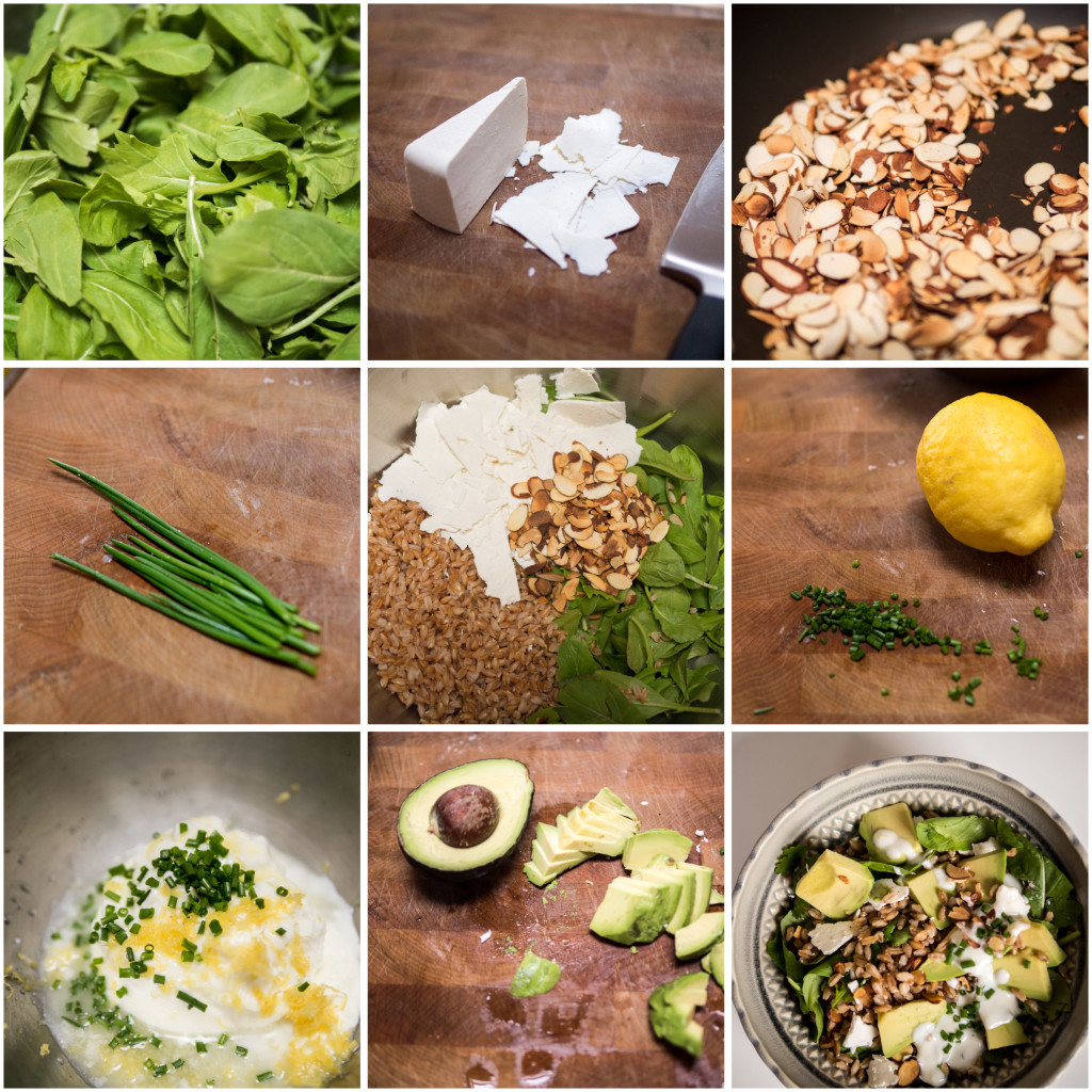 making yoghurt farro salad