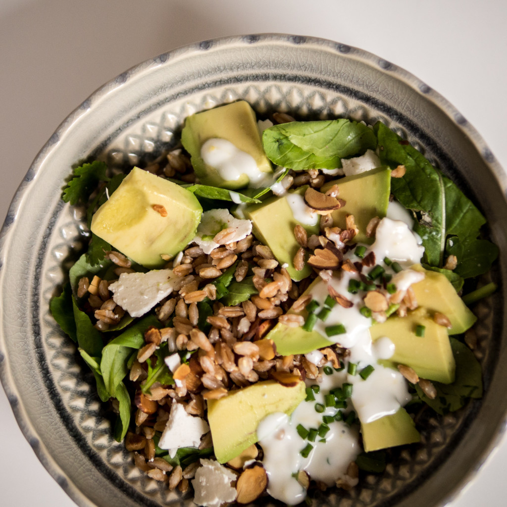 A farro salad with a tangy yoghurt dressing